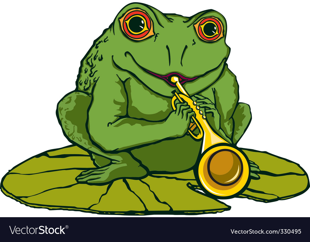 Frog playing the trumpet vector | Price: 1 Credit (USD $1)