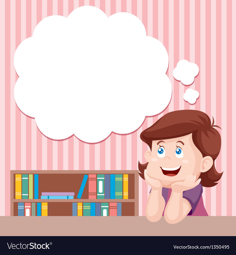 Girl thinking vector | Price: 3 Credit (USD $3)