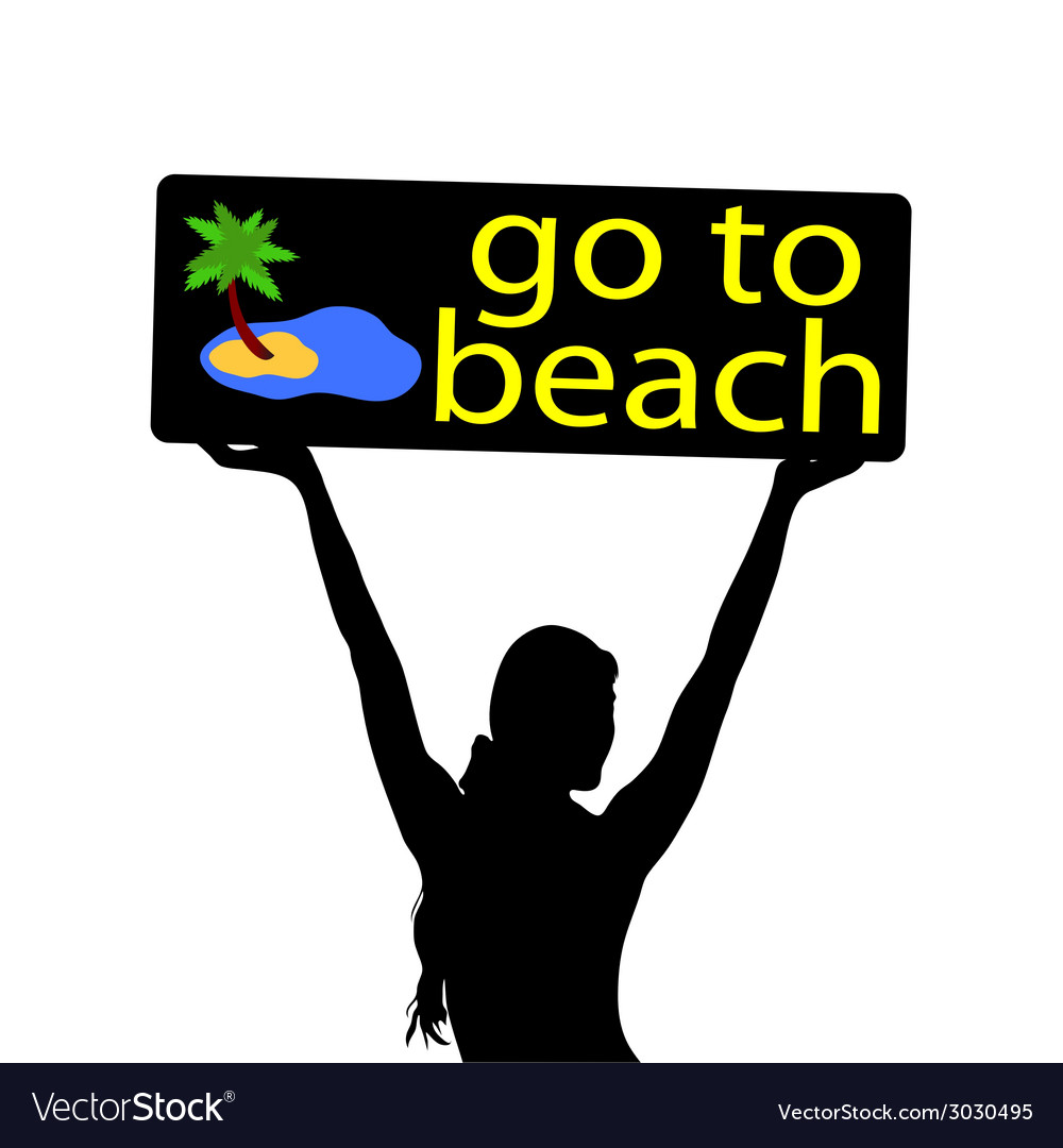Go to beach with girl silhouette vector | Price: 1 Credit (USD $1)