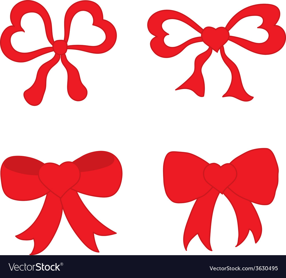 Hand drawn sketch of red festive bows in the shape vector | Price: 1 Credit (USD $1)