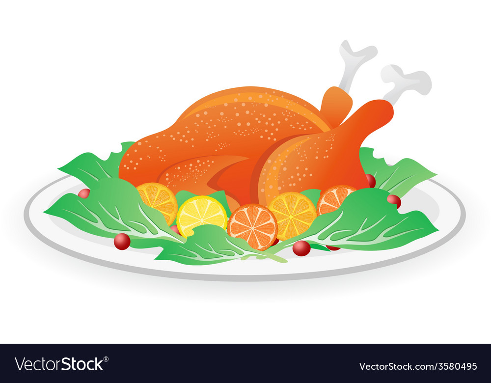 Roasted turkey on dish vector | Price: 1 Credit (USD $1)