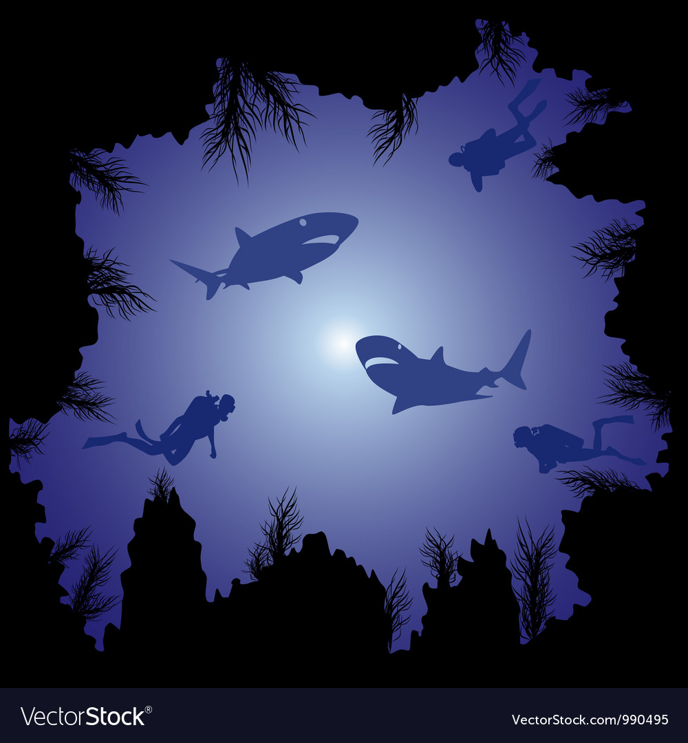 Sharks and scuba divers in the ocean vector | Price: 1 Credit (USD $1)