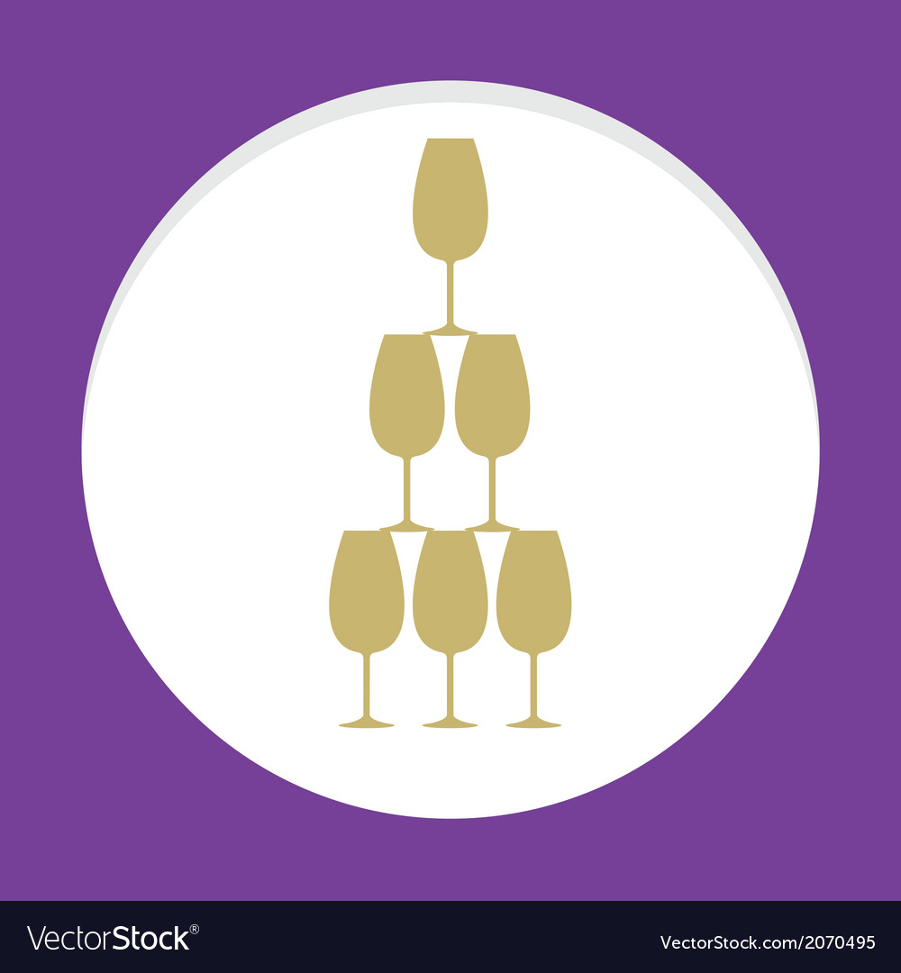 Stack of wine glass celebration concept vector | Price: 1 Credit (USD $1)
