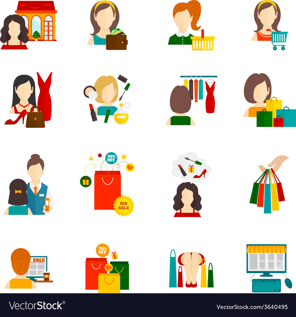 Woman shopping icon flat vector | Price: 1 Credit (USD $1)