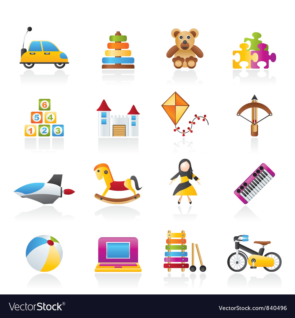 Different kind of toys icons vector | Price: 3 Credit (USD $3)