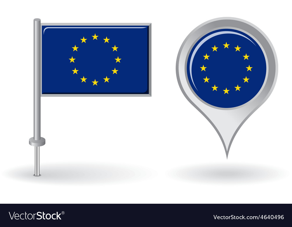 European union pin icon and map pointer flag vector | Price: 1 Credit (USD $1)
