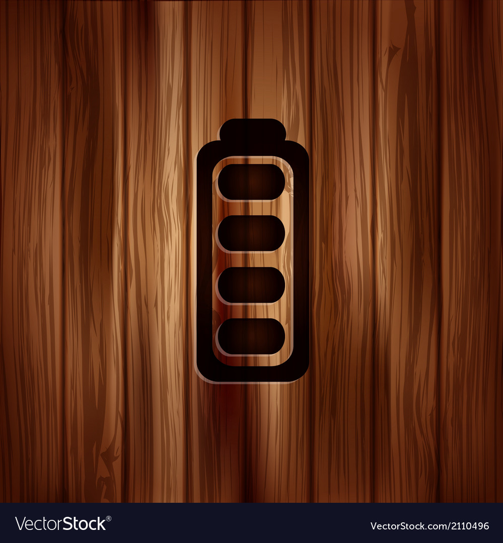 Full battery icon accumulator wooden texture vector | Price: 1 Credit (USD $1)