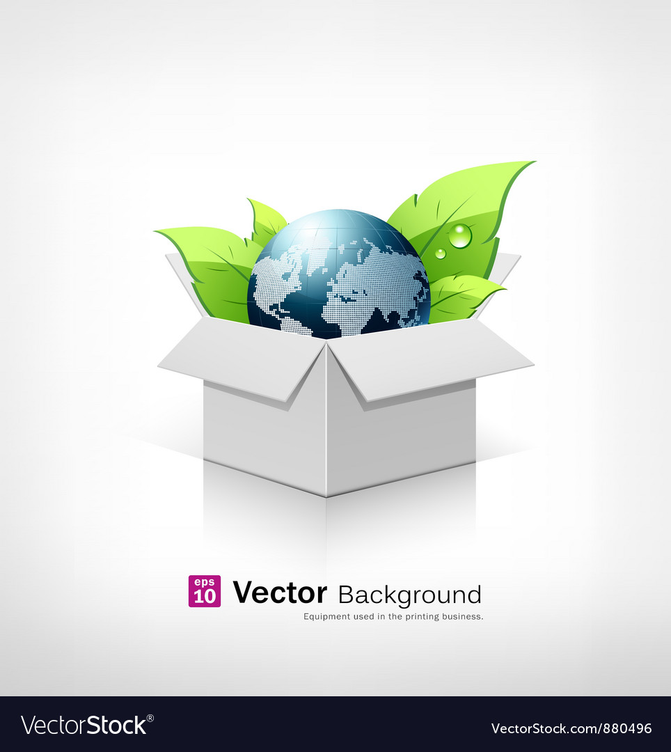 Globe and leaf on open white box vector | Price: 1 Credit (USD $1)