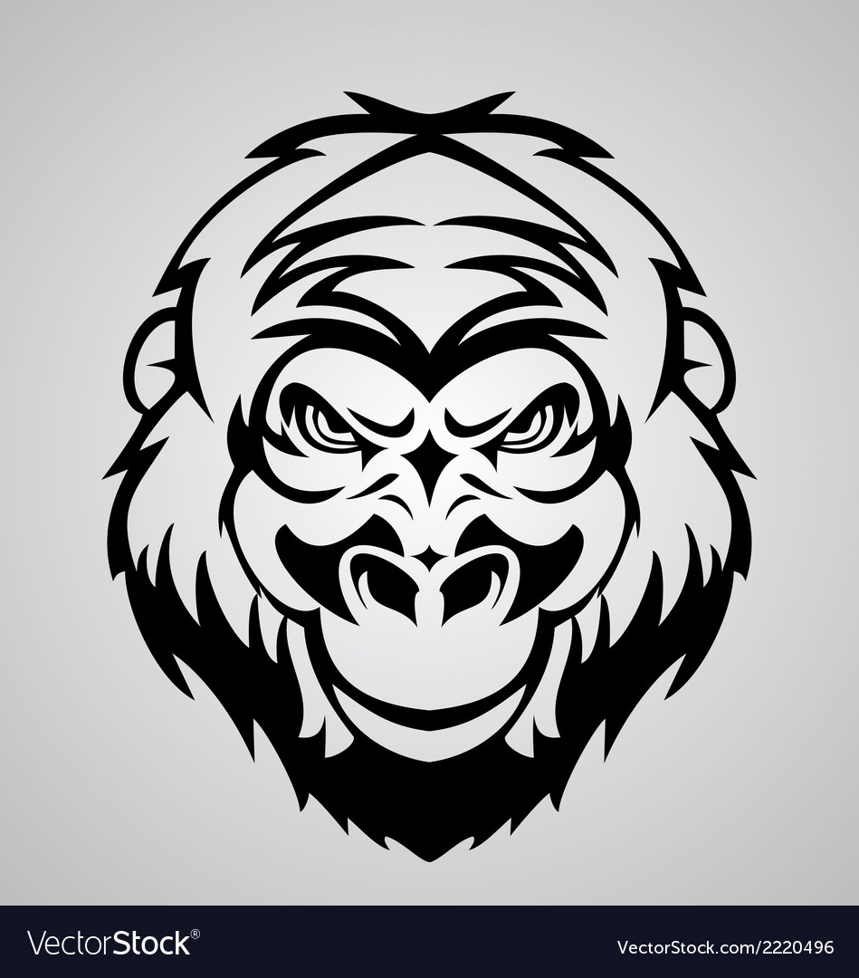 Gorilla face tribal vector | Price: 1 Credit (USD $1)