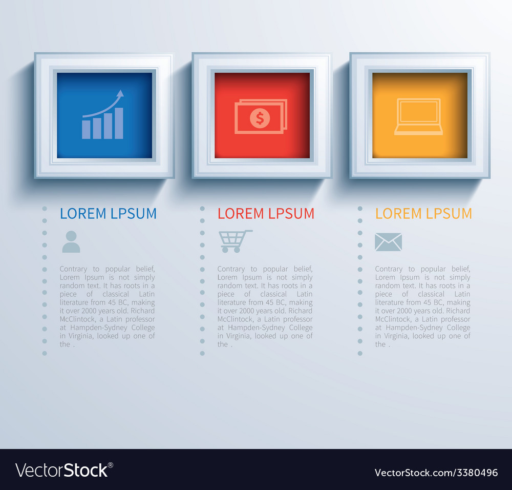 Paper square infographic vector