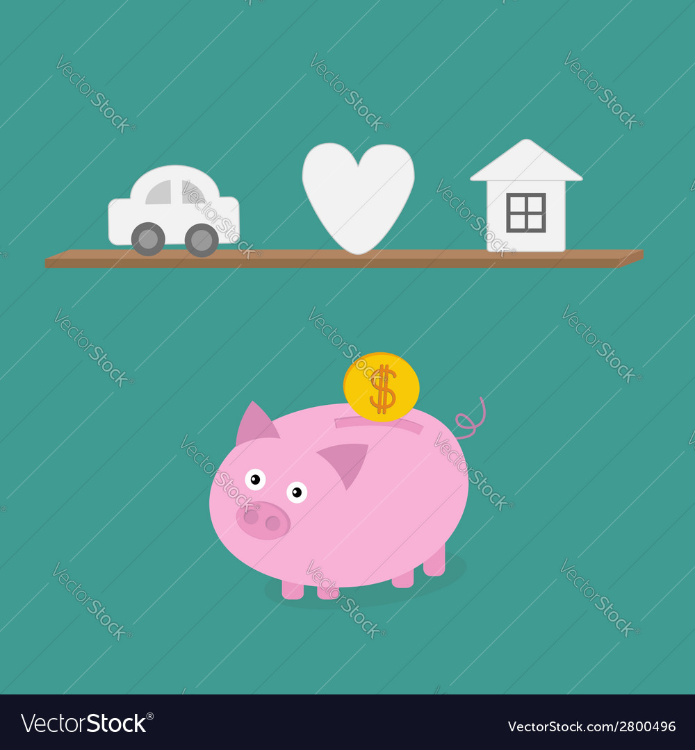 Piggy bank an shelf with car heart love house flat vector | Price: 1 Credit (USD $1)