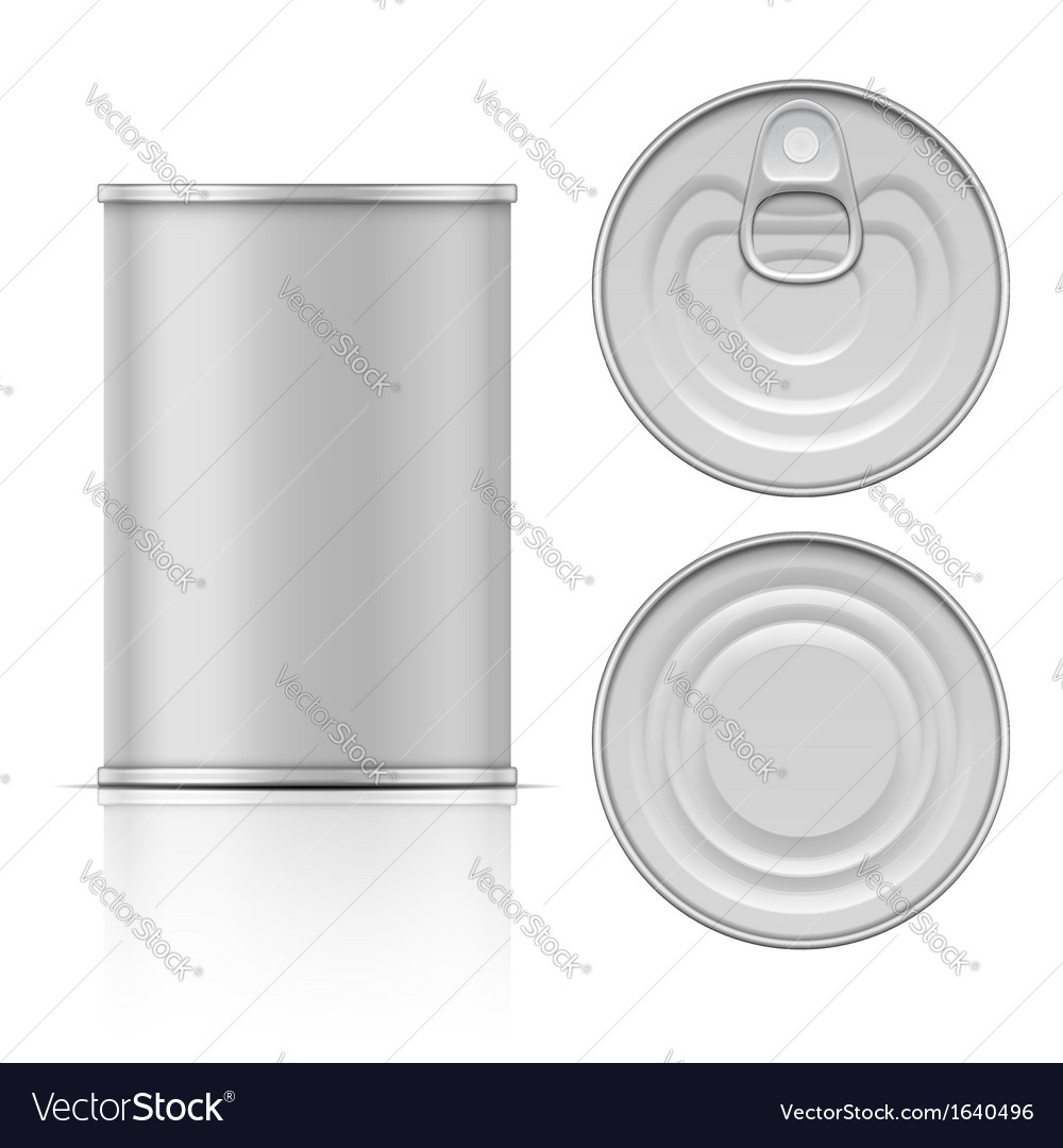 Tin can with ring pull side top and bottom view vector | Price: 1 Credit (USD $1)