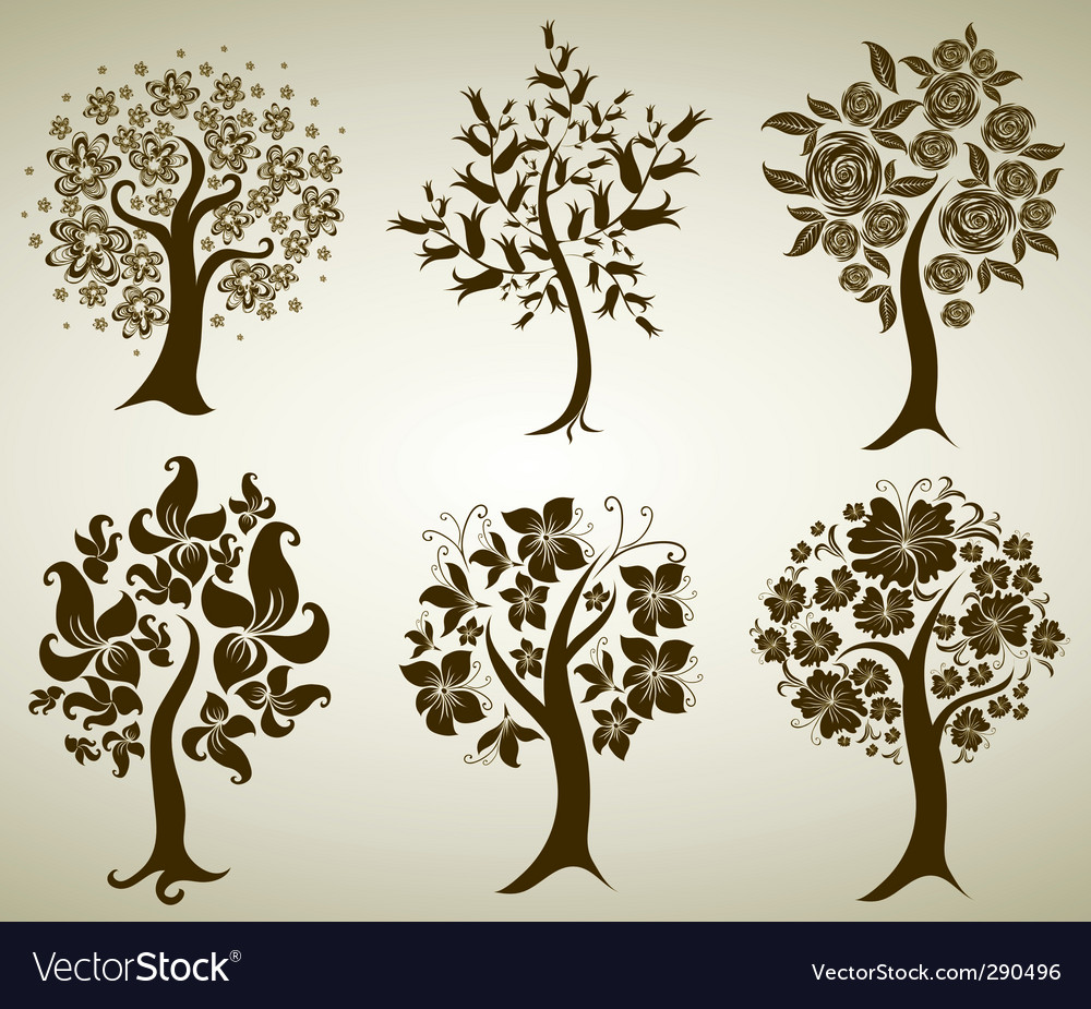 Tree from flowers vector | Price: 1 Credit (USD $1)