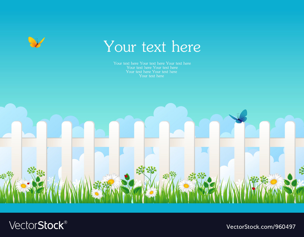 Fence with grass vector | Price: 1 Credit (USD $1)