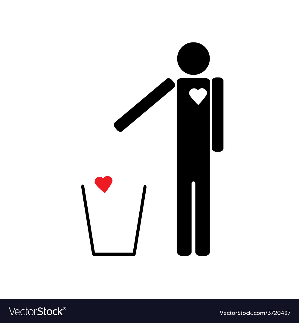 Man throws the trash to your heart vector | Price: 1 Credit (USD $1)