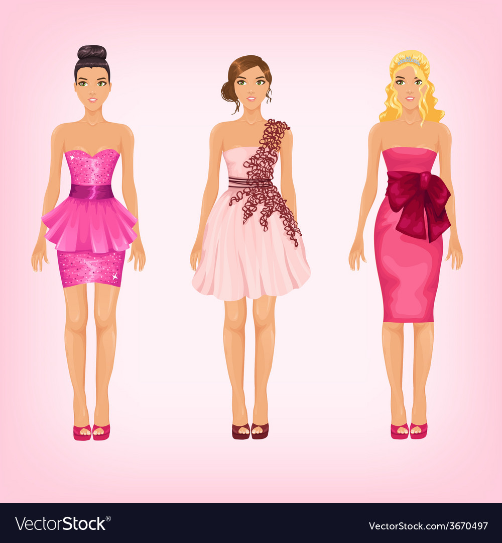 Pretty females in different pink cocktail and prom vector | Price: 1 Credit (USD $1)