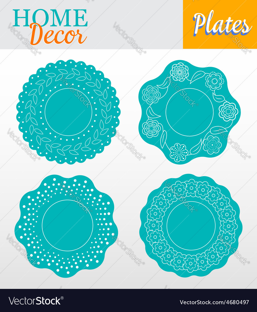 Set of 4 decorative plates for interior design - vector | Price: 1 Credit (USD $1)