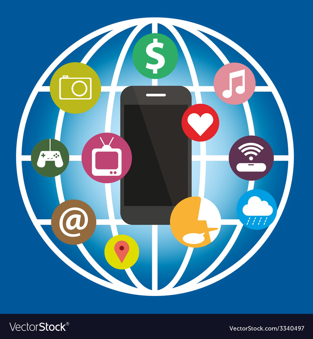 Smart phone function with icon global technology vector   Price: 1 Credit (USD $1)