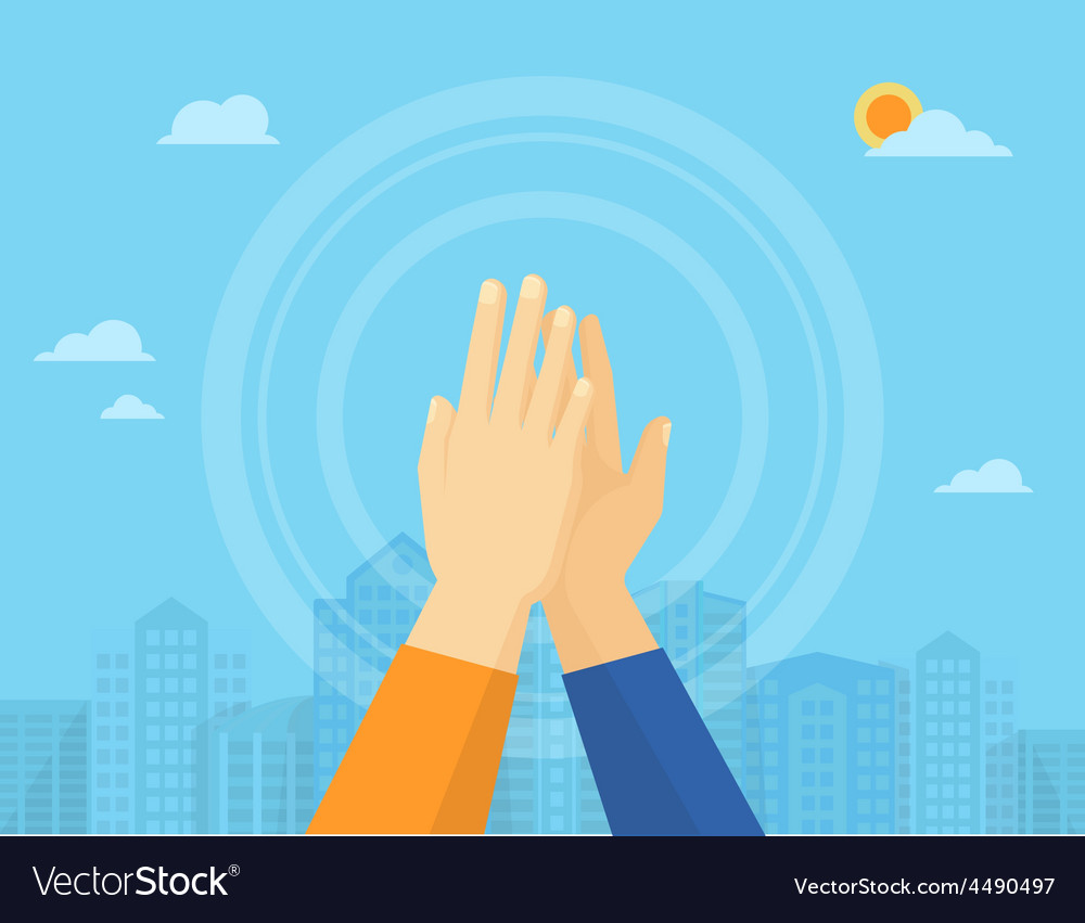 Two hands giving a high five vector | Price: 1 Credit (USD $1)