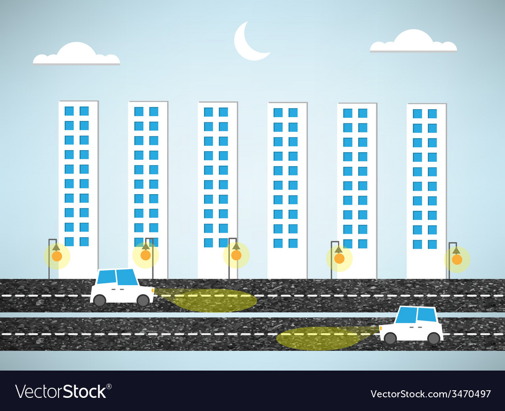 Urban landscape and road of evening vector | Price: 1 Credit (USD $1)