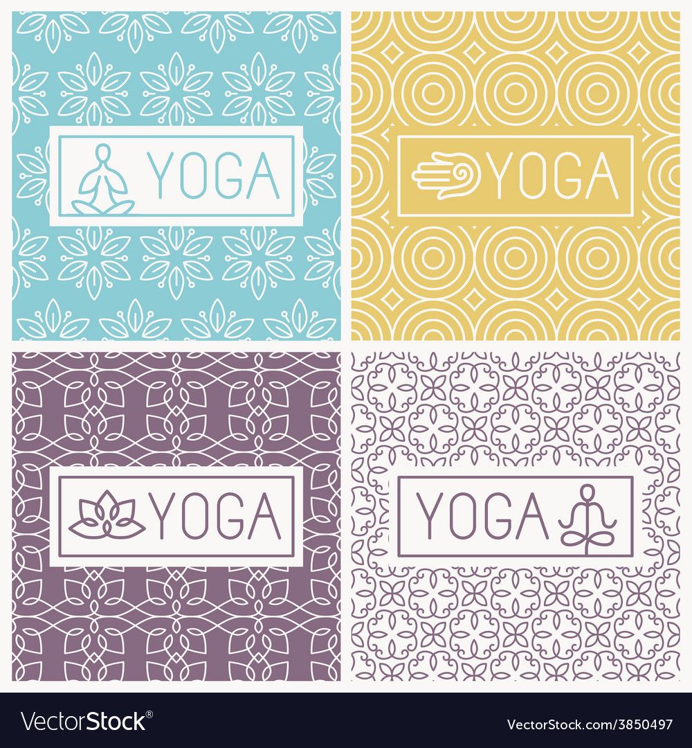 Yoga icons and line badges vector | Price: 1 Credit (USD $1)