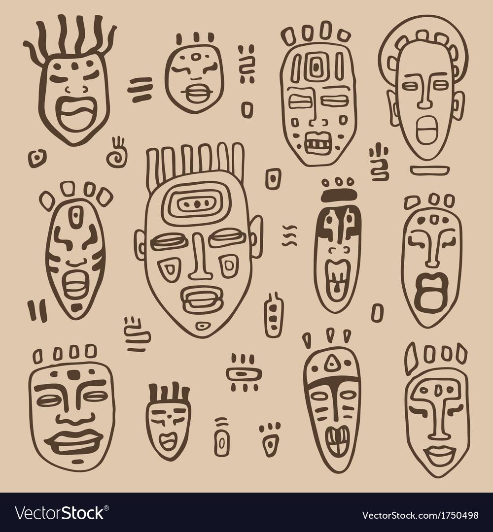 African masks set vector | Price: 1 Credit (USD $1)