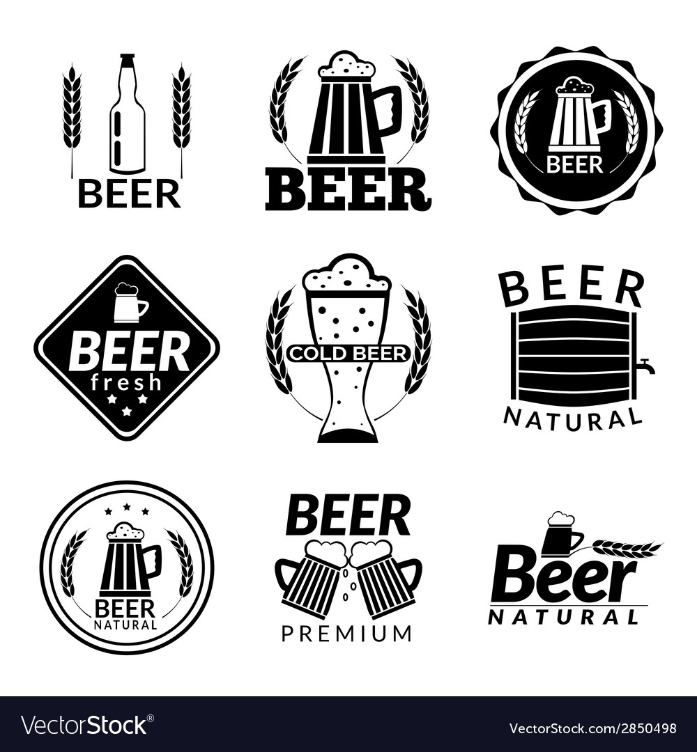 Beer black emblems vector | Price: 1 Credit (USD $1)
