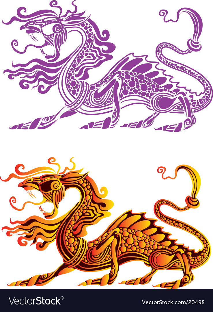 Fiery dragon vector | Price: 1 Credit (USD $1)
