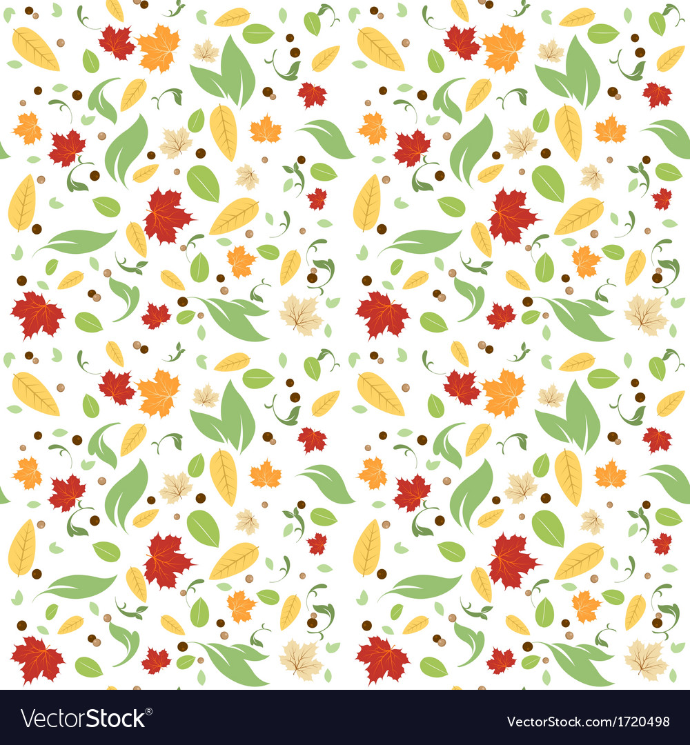 Green leaves floral spring fall seamless pattern vector | Price: 1 Credit (USD $1)