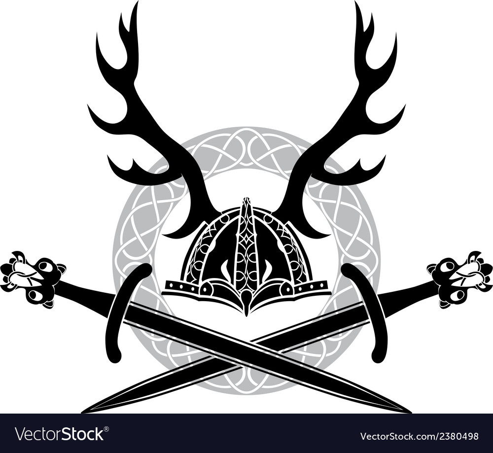 Helmet with antlers and viking swords vector | Price: 1 Credit (USD $1)