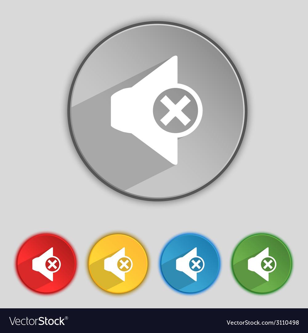 Mute speaker sign icon sound symbol set of vector | Price: 1 Credit (USD $1)