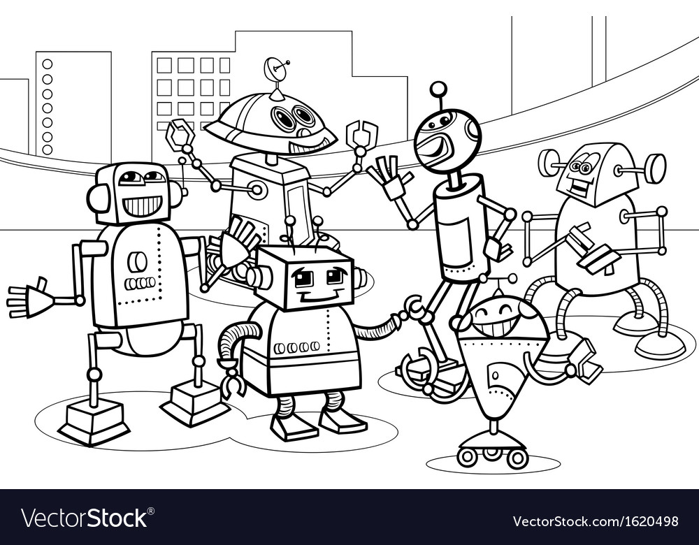 Robots group cartoon coloring page vector | Price: 1 Credit (USD $1)