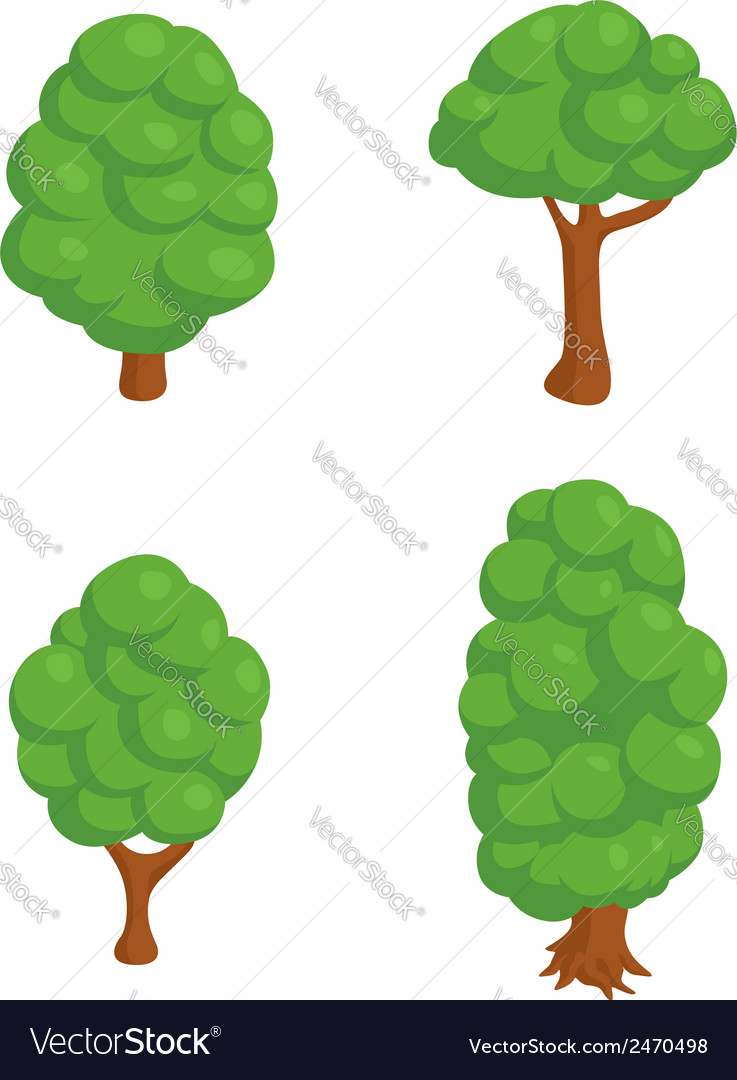 Set of 4 isometric trees vector | Price: 1 Credit (USD $1)