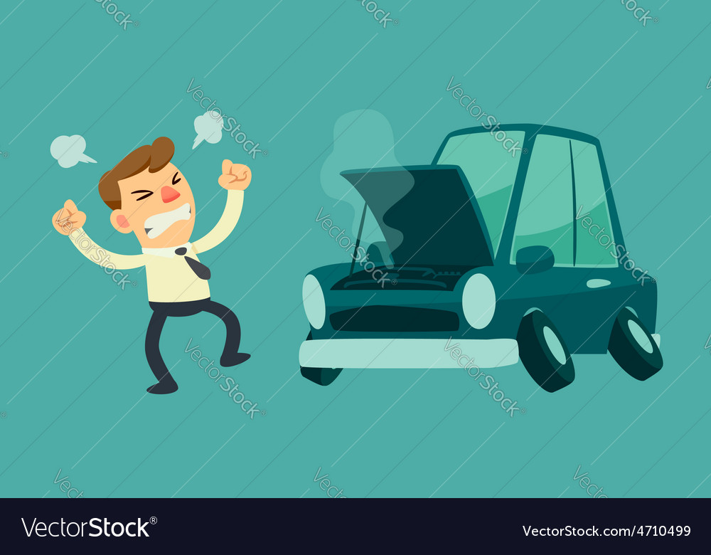 Business man and broken car vector | Price: 3 Credit (USD $3)