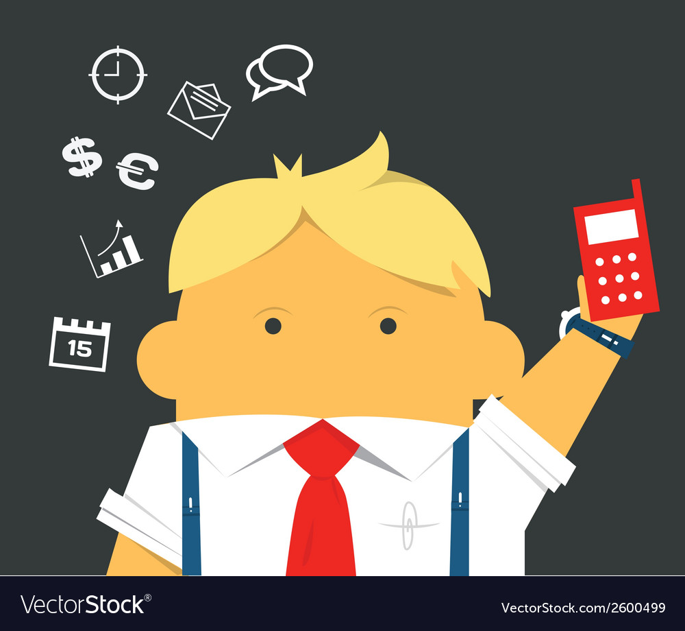 Businessman with a phone hardworking and busy vector | Price: 1 Credit (USD $1)