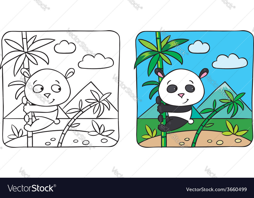 Little panda coloring book vector | Price: 1 Credit (USD $1)