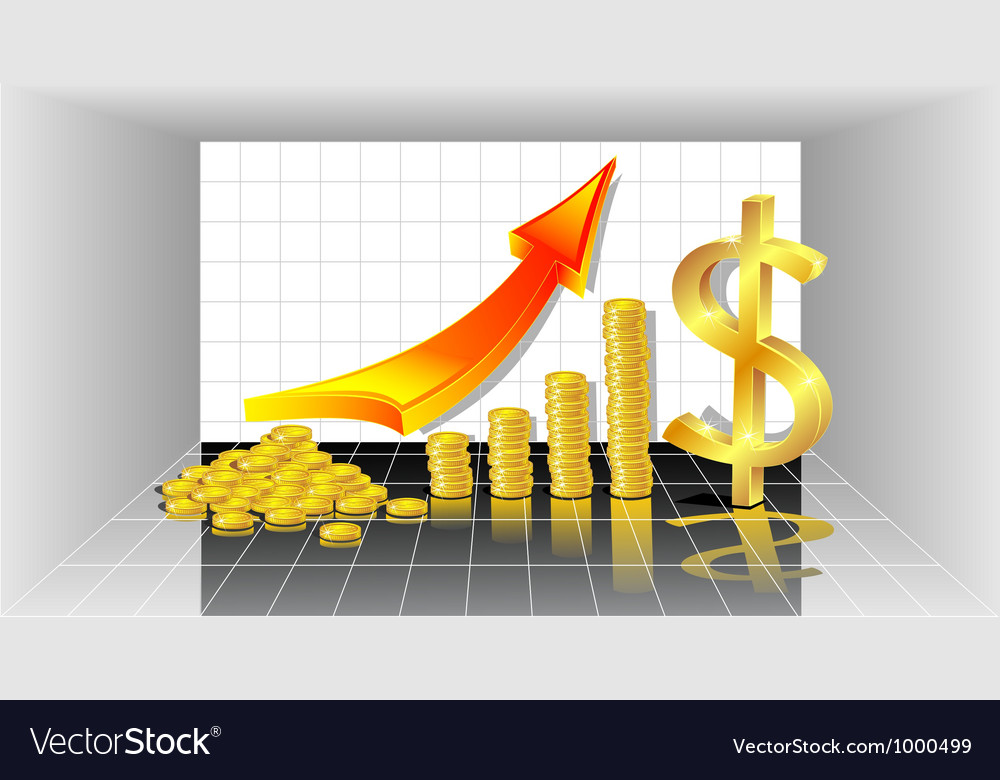 Profit with gold coins red arrow and with dollar vector | Price: 1 Credit (USD $1)