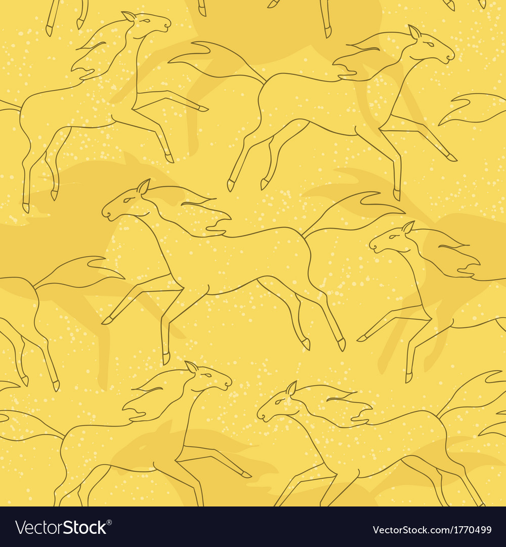 Running horses seamless pattern vector | Price: 1 Credit (USD $1)