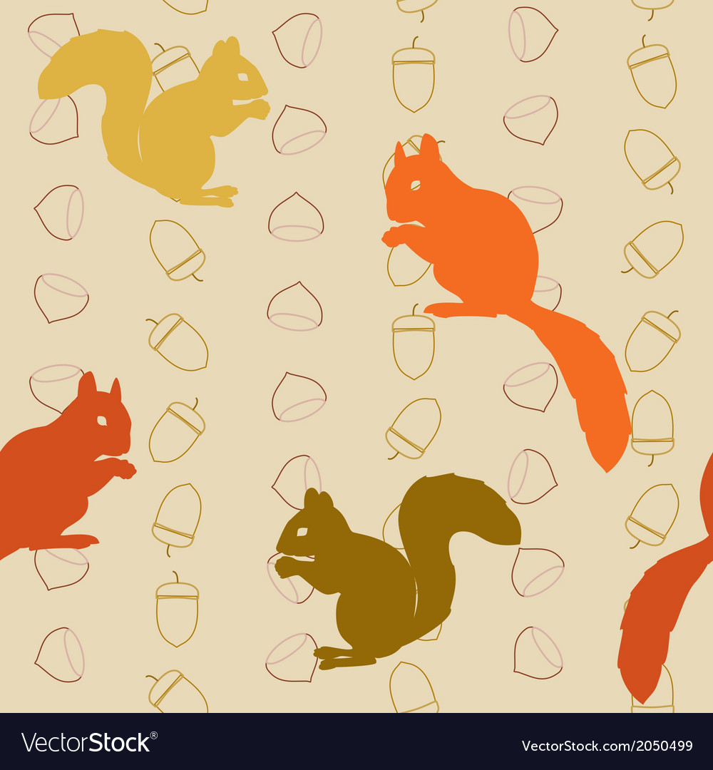 Seamless pattern with squirrels and nuts vector | Price: 1 Credit (USD $1)