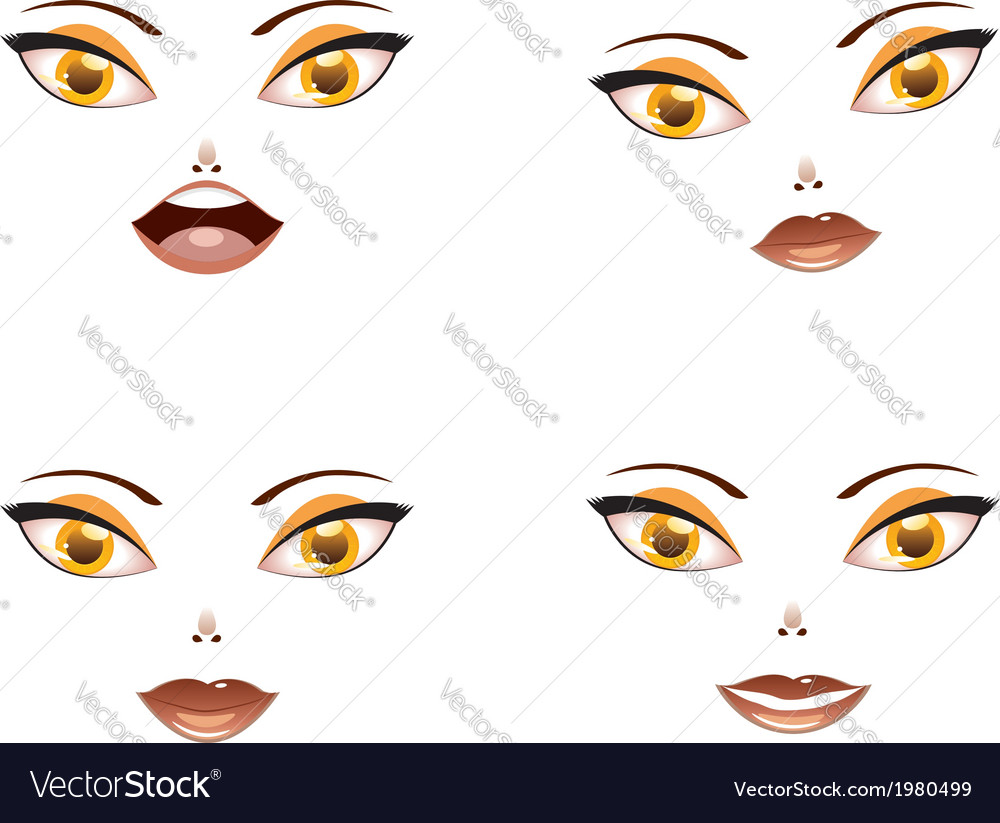 Toon female face with yellow eyes vector | Price: 1 Credit (USD $1)