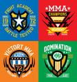 Fight academy mma emblems vector