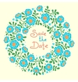 Save the date invitation with floral wreath vector