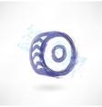 Car wheel grunge icon vector