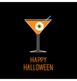 Martini glass with orange cocktail and eyeball vector