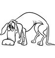 Sad homeless dog coloring page vector