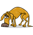 Sad homeless dog cartoon vector