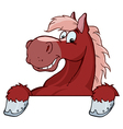 Red horse mascot cartoon head vector