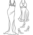 Women clothes set coloring page vector