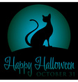 Black cat rising moon halloween card in format vector