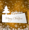 Paper christmas card with gift in gold background vector